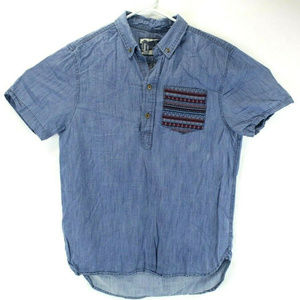 The Nutter Mens Short Sleeve Chambray Polo Shirt